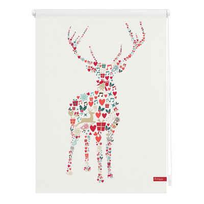 Seitenzugrollo »Klemmfix Motiv Rentier Weihnachten«, LICHTBLICK ORIGINAL, Lichtschutz, ohne Bohren, freihängend, bedruckt