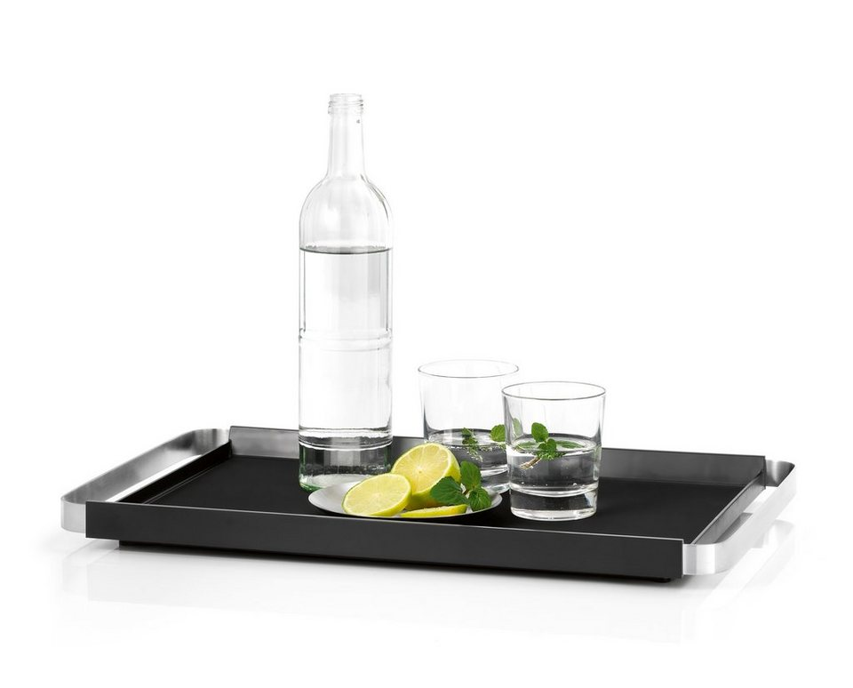 Blomus Tablett, 50 cm, »PEGOS« in schwarz, silber