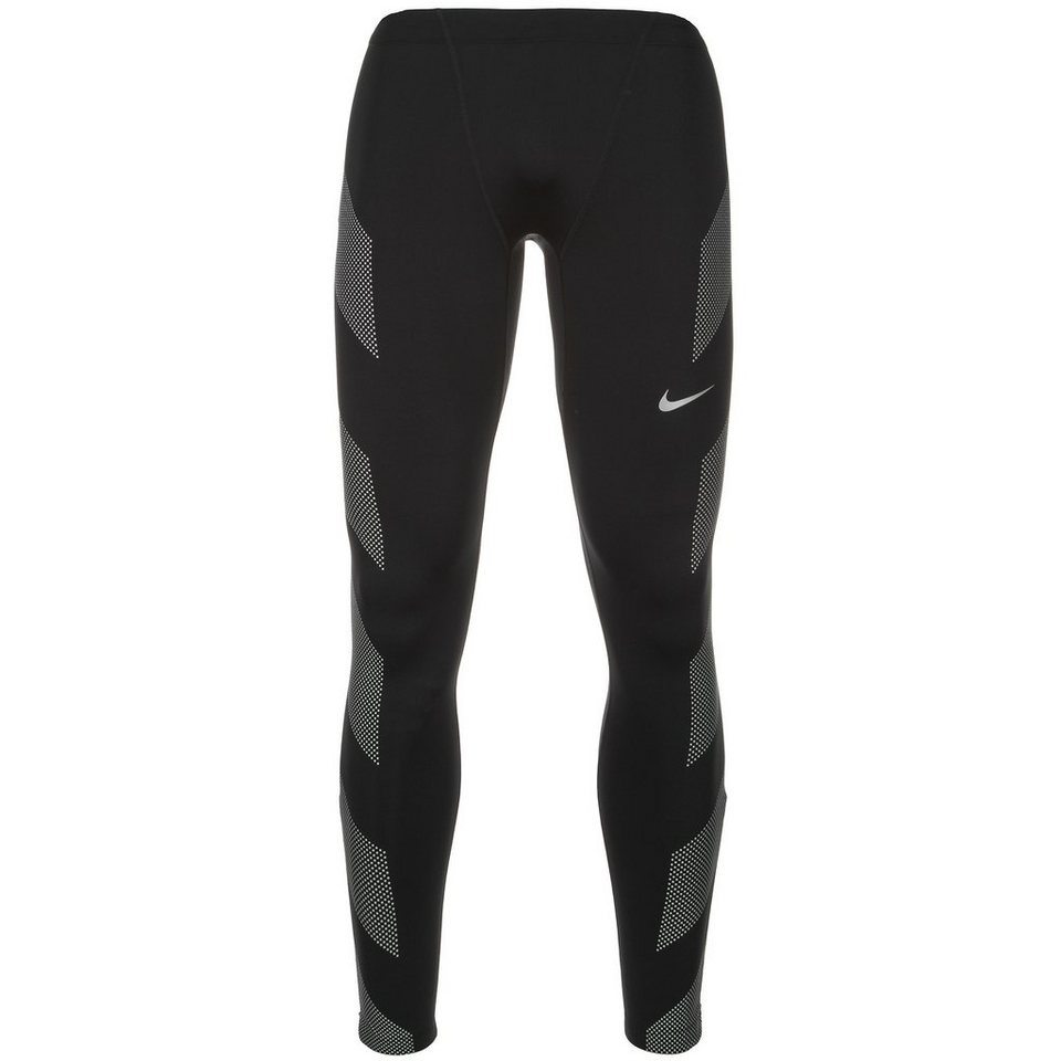NIKE Dri-FIT Flash Lauftight Herren in schwarz / silber