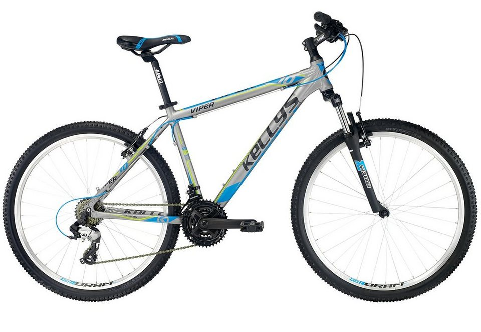 Kellys Mountainbike Hardtail, 26 Zoll, grau-blau, 21 Gang Kettenschaltung, »Viper 10 Grey« in grau-blau