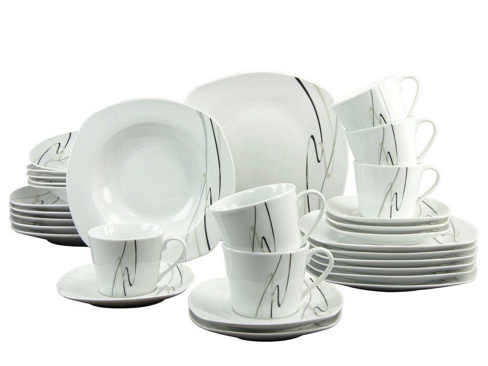 CreaTable Kombiservice, Porzellan, 30 Teile, »AMELIE« in schwarz/schwarz-graues Liniendekor
