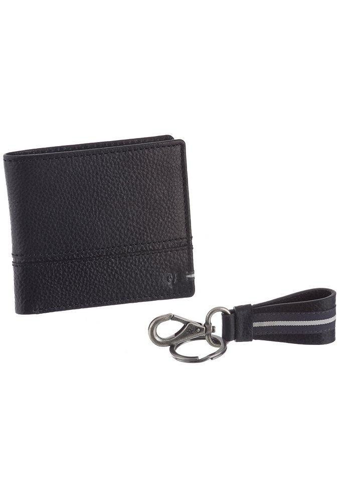 Marc O'Polo Set Geldbörse & Schlüsselanhänger aus Leder in schwarz