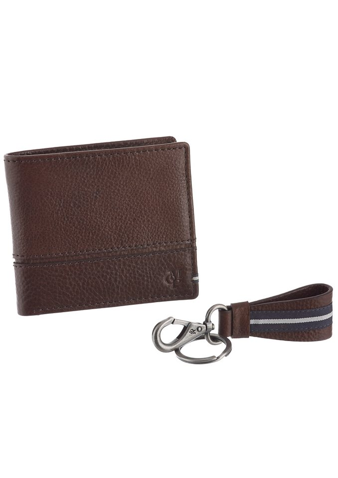 Marc O'Polo Set Geldbörse & Schlüsselanhänger aus Leder in braun