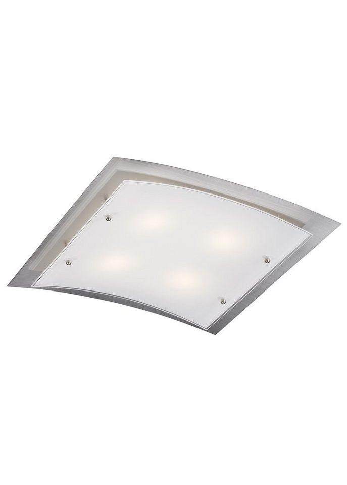 Trio LED-Deckenleuchte, 4flg., inkl. OSRAM-LED in nickelfarben matt, Glas weiß