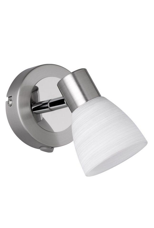 Trio LED-Wandleuchte, 1flg., »CARICO« in nickel matt/chromfarben, Glas, weiß gewischt