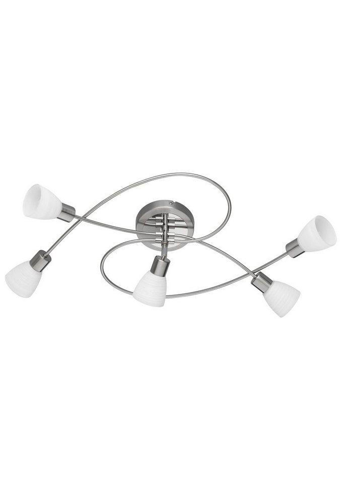 Trio LED-Deckenleuchte, 5flg., »CARICO« in nickel matt/chromfarben, Glas, weiß gewischt