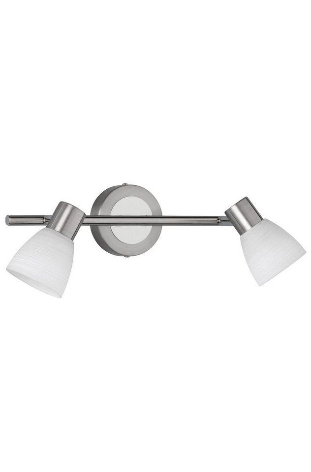 Trio LED-Deckenleuchte, 2flg., »CARICO« in nickel matt/chromfarben, Glas, weiß gewischt
