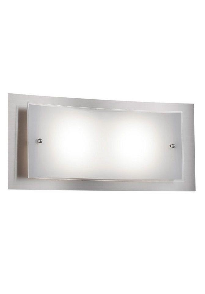 Trio LED-Wandleuchte, 2flg., inkl. OSRAM-LED in nickelfarben matt, Glas weiß