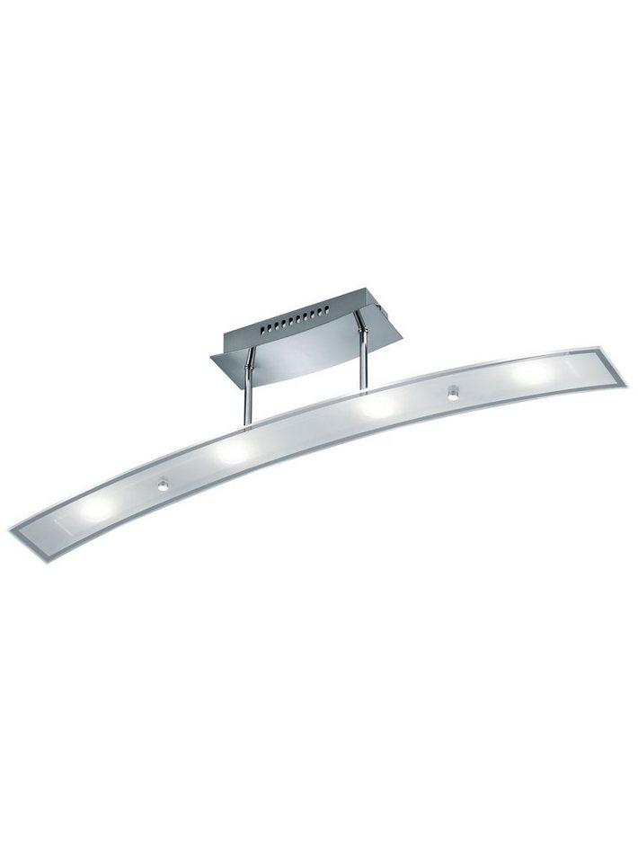 Trio LED-Deckenleuchte, 4flg., inkl. OSRAM-LED in chromfarben, Glas, weiß satiniert/klar