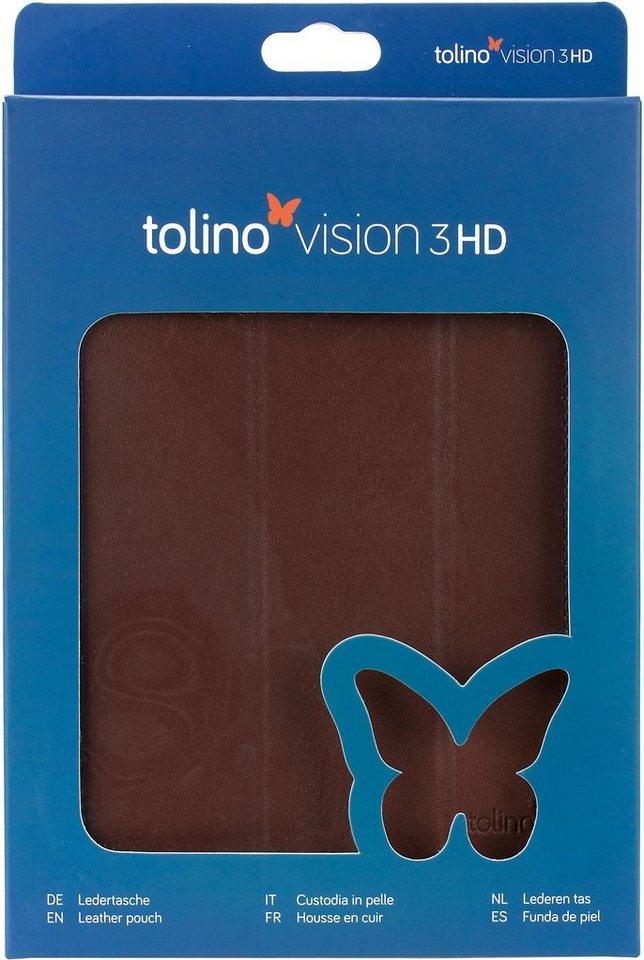 Tolino Falt Tasche aus Leder passend Tolino für den E-Book-Reader Vision 3 HD in Braun