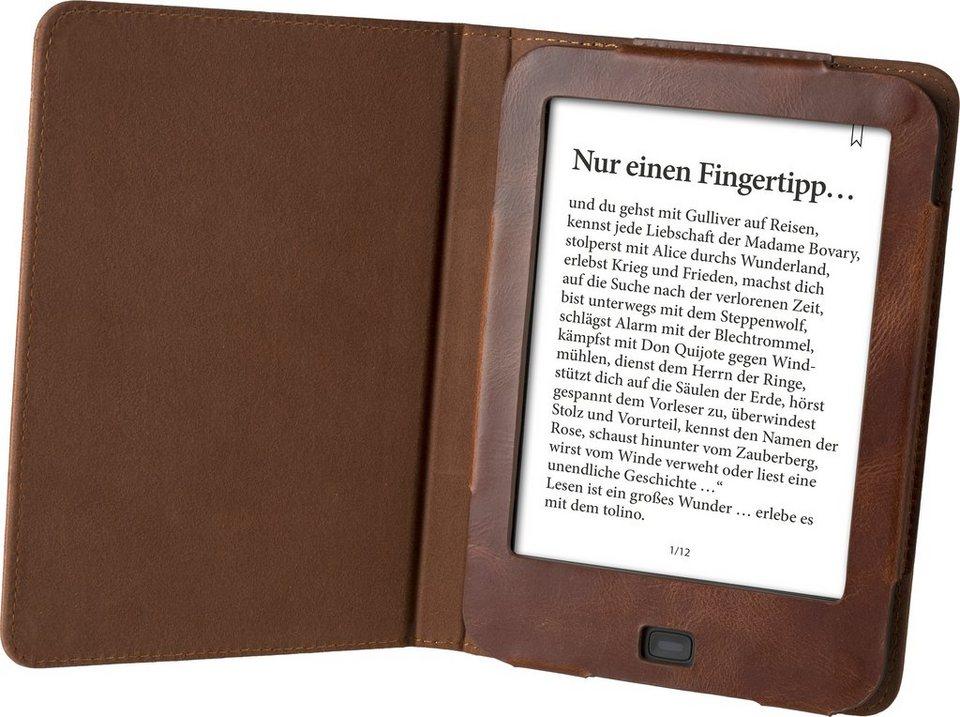 Tolino Tasche aus Leder passend für den Tolino E-Book-Reader Shine 2 HD & Vision 3 HD in Braun