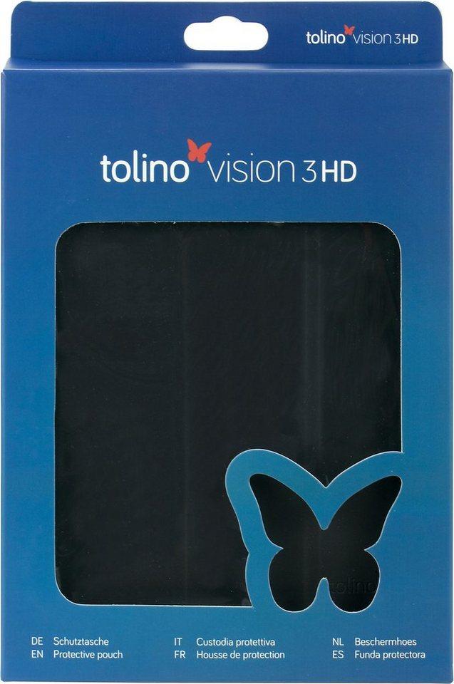 Tolino Falt Tasche aus Polyurethan passend Tolino für den E-Book-Reader Vision 3 HD in Schwarz