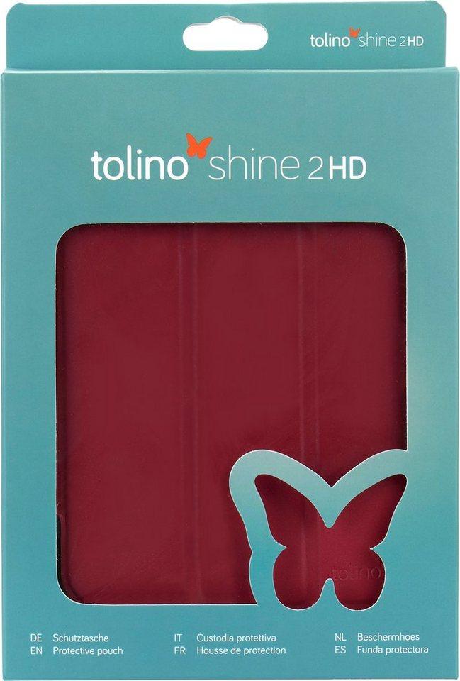 Tolino Falt Tasche aus Kunstleder passend für den Tolino E-Book-Reader Shine 2 HD in Rot