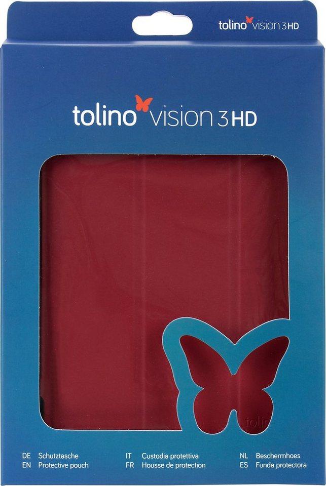 Tolino Falt Tasche aus Polyurethan passend Tolino für den E-Book-Reader Vision 3 HD in Rot