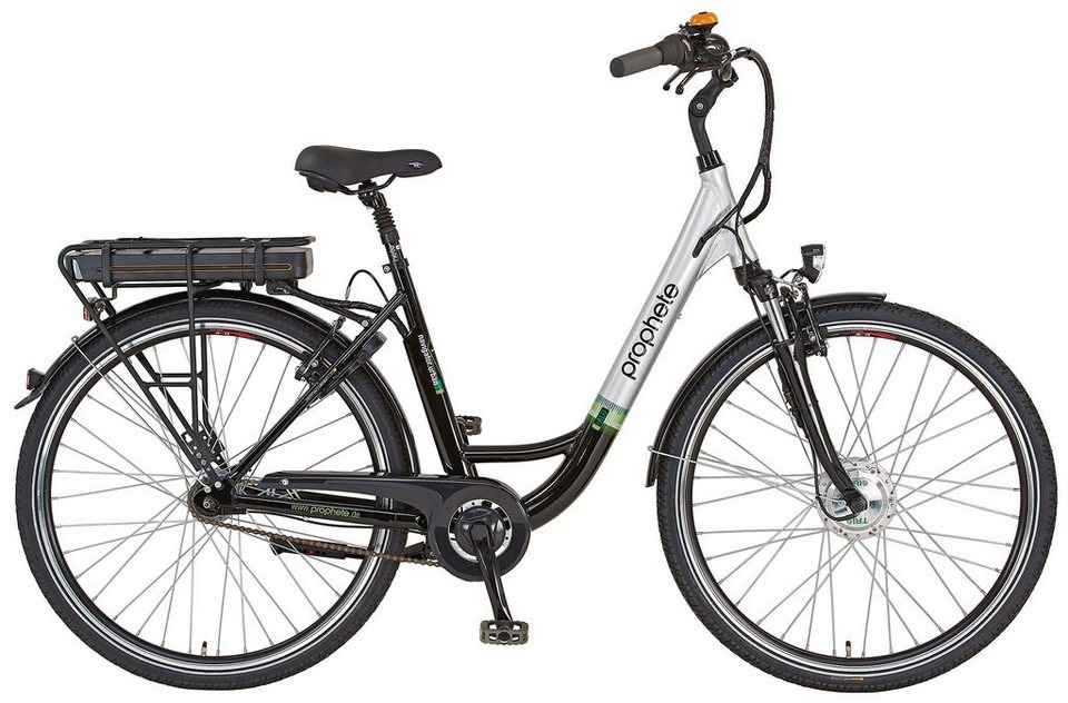 Prophete E-Bike City Damen, 28 Zoll, 7 Gang Shimano Nexus Nabenschaltung, »Navigator Urban« in schwarz-silber