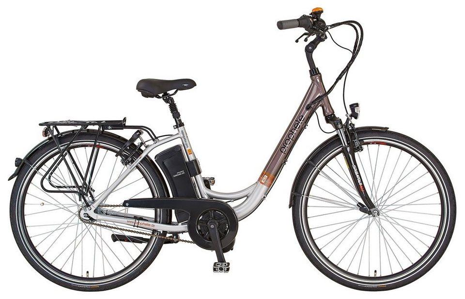 Prophete Sparset, E-Bike City, 28 Zoll, 36V/250W Mittelmotor, 7 G., »Navigator Pro« in grau-braun