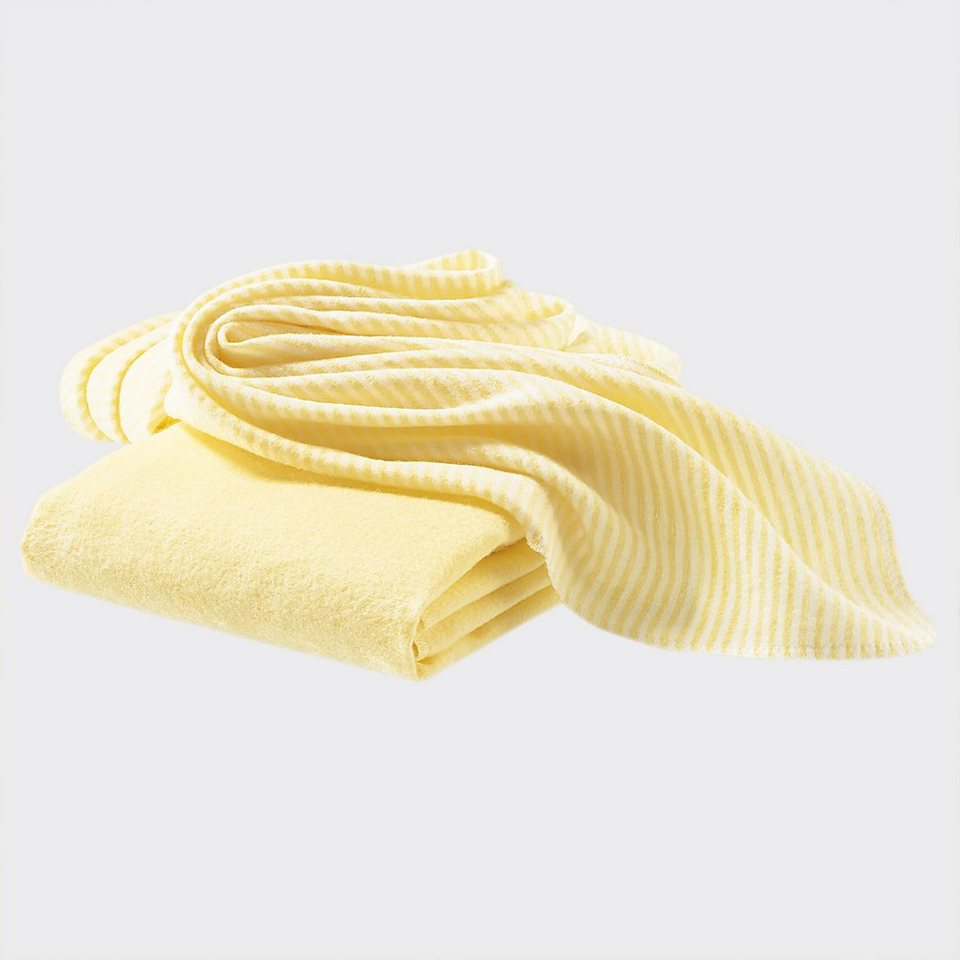 BORNINO Flanelltuch im 2er-Pack 40x40cm in gelb