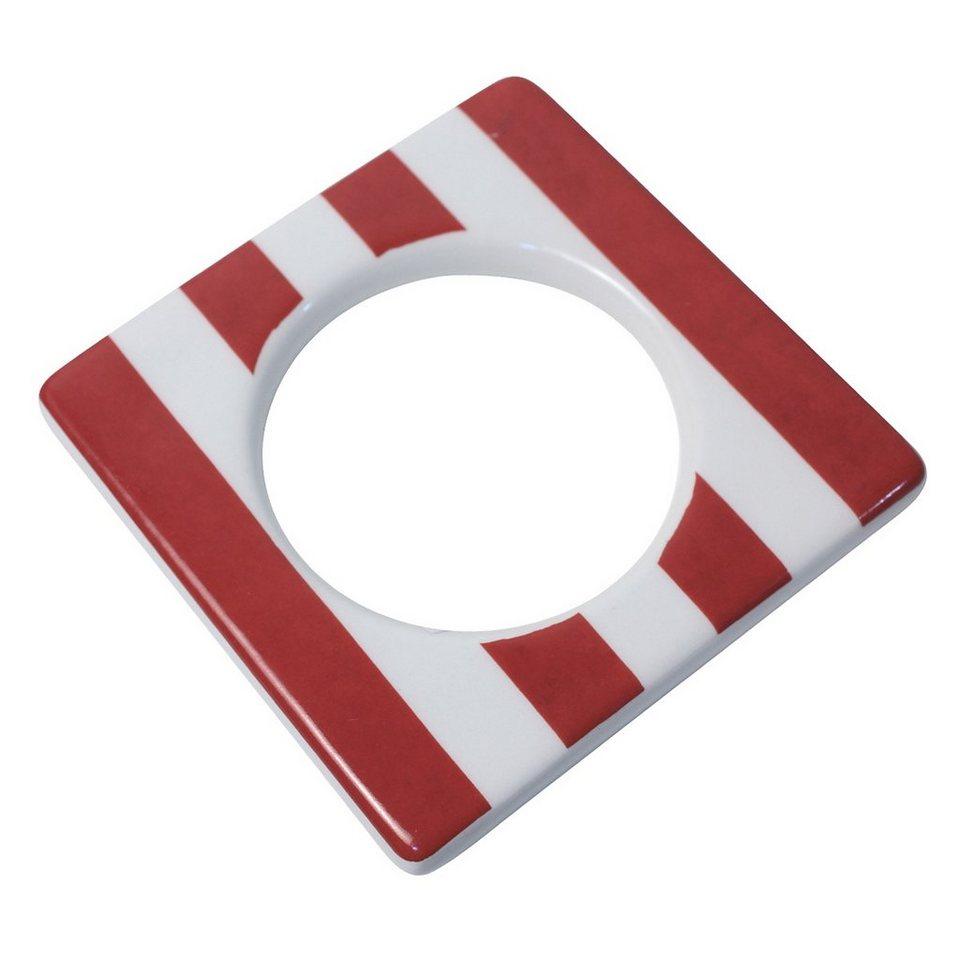 CULTDESIGN Cult Design Manschette für Teelichthalter rot weiss gestreift in rot weiss