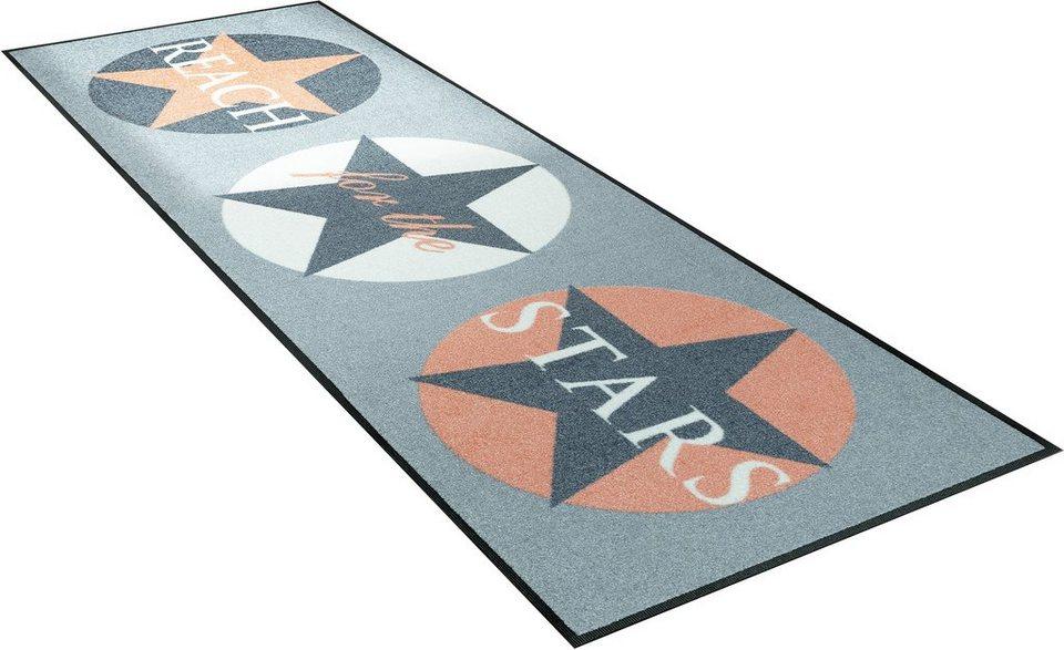 Läufer, wash+dry by Kleen-Tex, »Reach Stars«, Höhe 7 mm, gedruckt in apricot/gr.