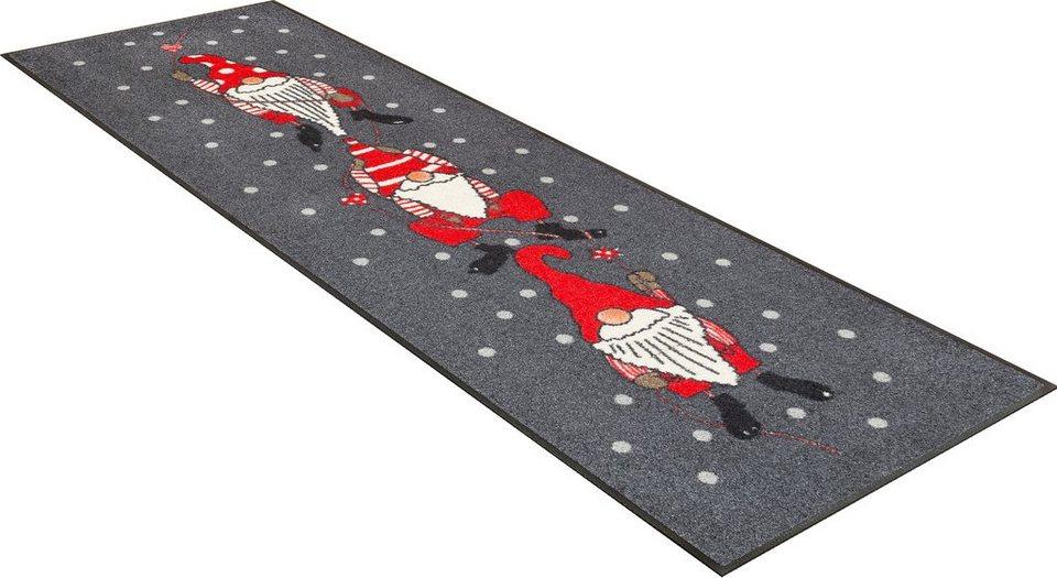 Läufer »Weihnachtszwerge«, wash+dry by Kleen-Tex, rechteckig, Höhe 7 mm in grau-rot