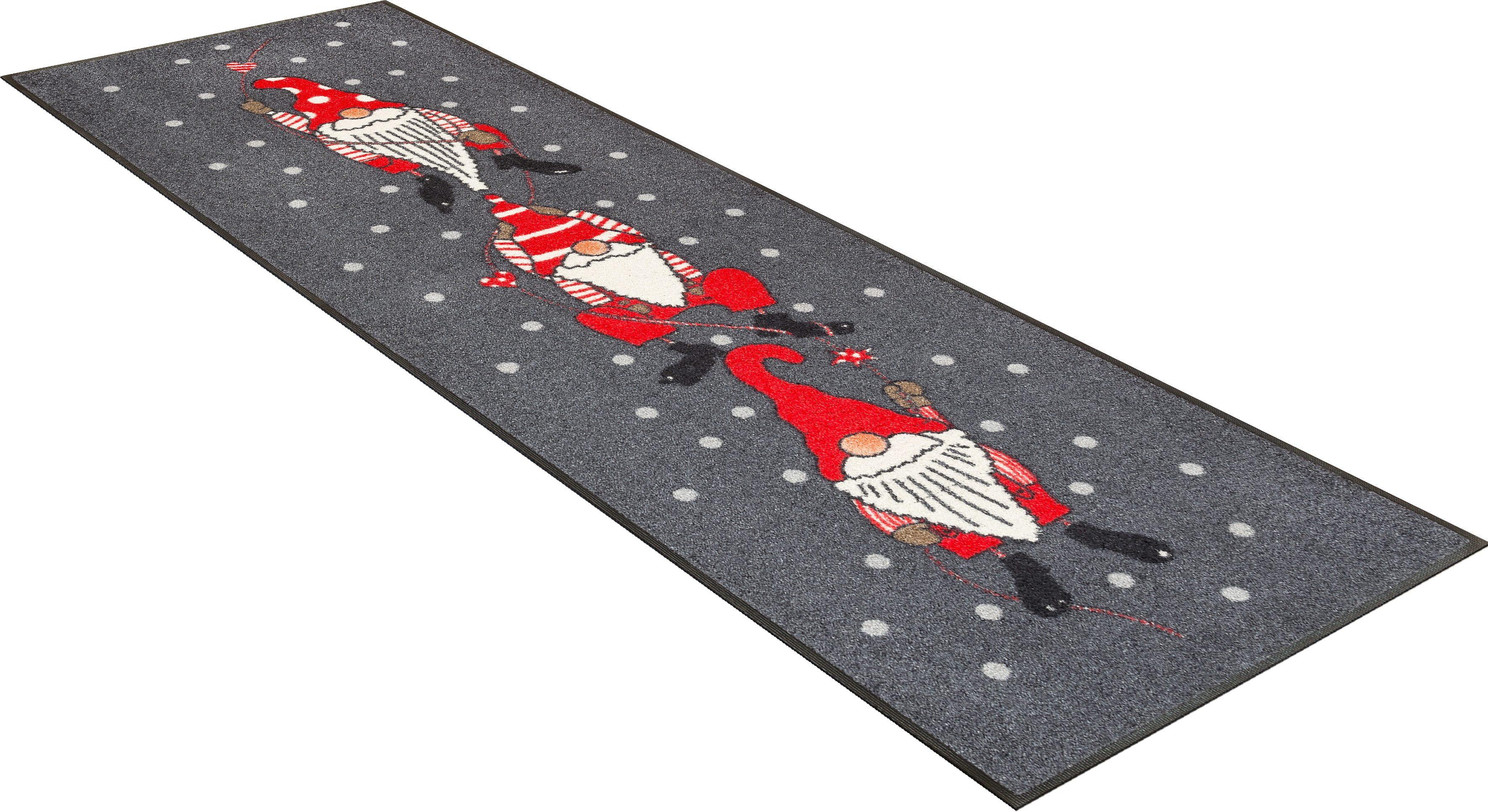 Läufer »Weihnachtszwerge«, wash+dry by Kleen-Tex, rechteckig, Höhe 7 mm