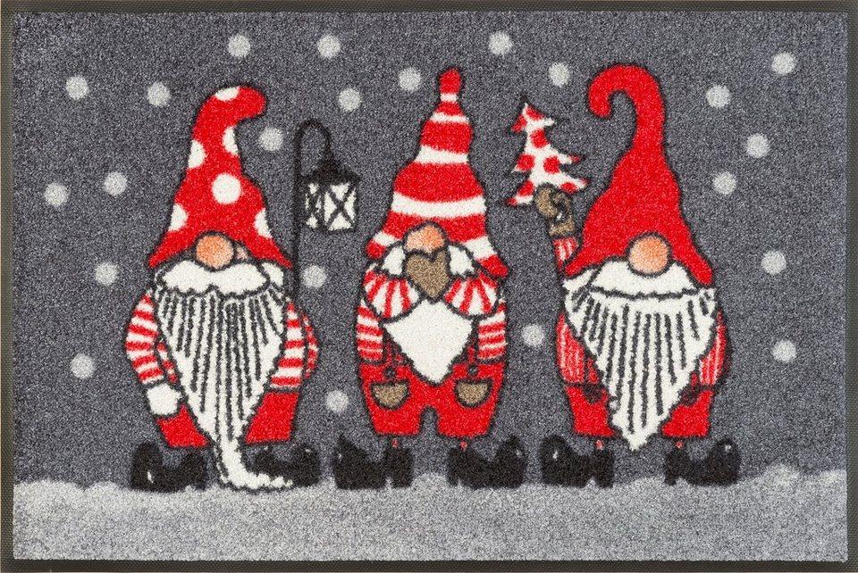 Fußmatte »Weihnachtszwerge«, WASH + DRY BY KLEEN-TEX, rechteckig, Höhe 7 mm in grau-rot
