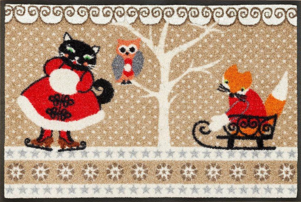 Fußmatte »Winterfriends«, WASH + DRY BY KLEEN-TEX, rechteckig, Höhe 7 mm in beige-rot