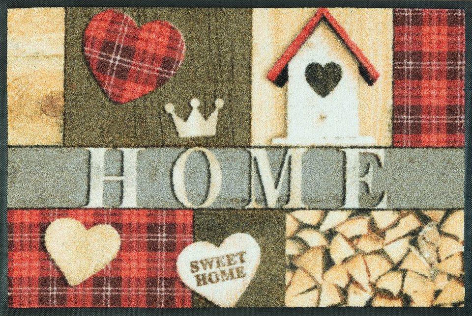 Fußmatte, wash+dry by Kleen-Tex, »Cottage Home«, Höhe 7 mm, gedruckt in beige/rot