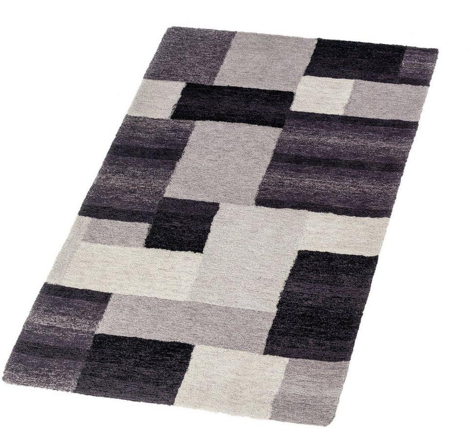 Hochflor-Teppich, Astra, »Livorno Karo«, Höhe 25 mm, getuftet in schwarz