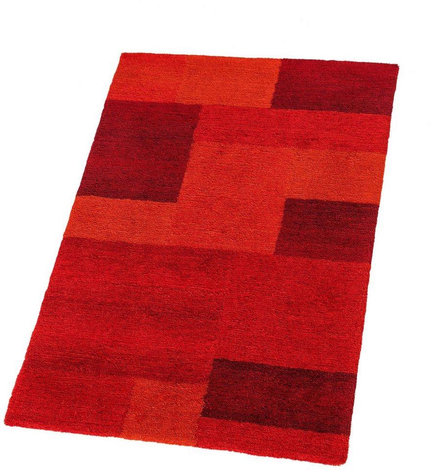 Hochflor-Teppich, Astra, »Livorno Karo«, Höhe 25 mm, getuftet in rot