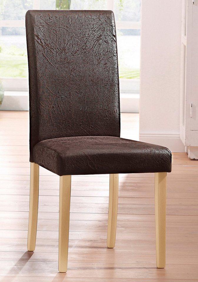 Stühle, Home affaire, »Roko«, Microfaser antik (2er, 4er, 6er Set) in antik braun