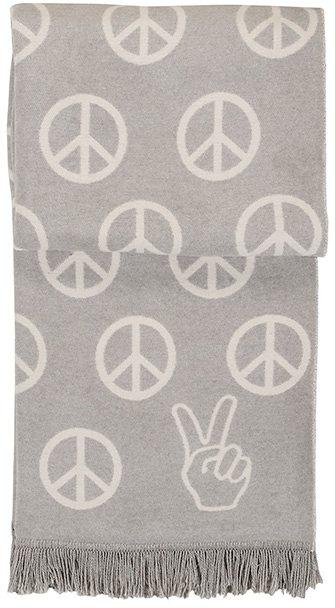 Wohndecke, pad, »Peace«, mit Friedens-Zeichen in hellgrau