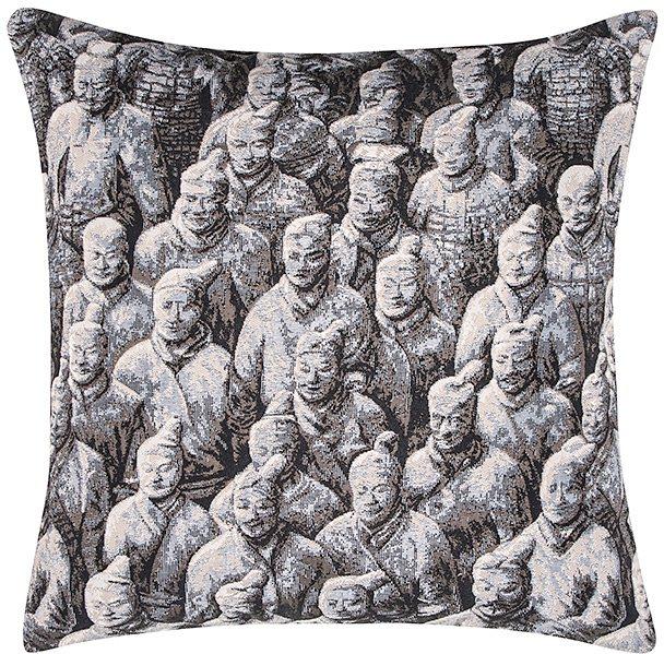 Kissenbezug, pad, »Shanghai«, mit chinesischen Kriegern in anthrazit