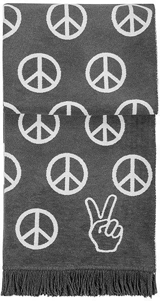 Wohndecke, pad, »Peace«, mit Friedens-Zeichen in grau