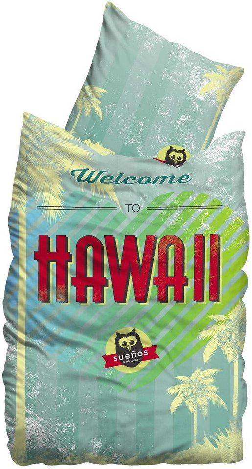 Bettwäsche, Suenos, »Hawaii«, mit Palmen & Herz in multi