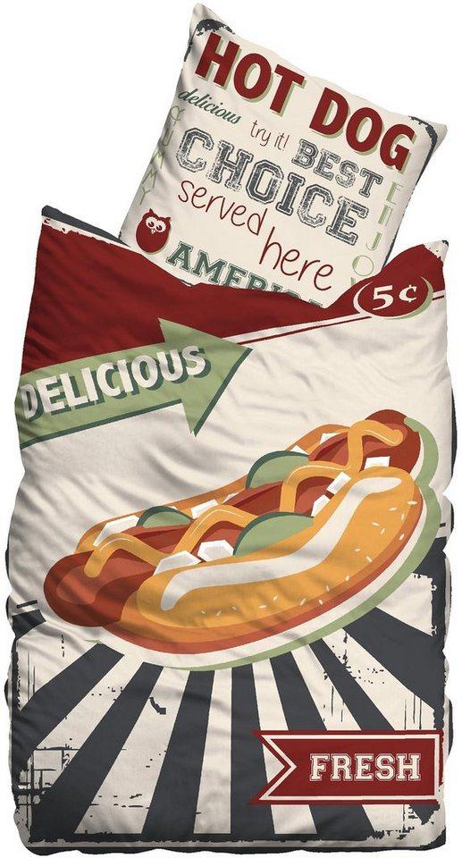 Bettwäsche, Suenos, »Hot Dog«, mit Hot Dog Motiv in multi