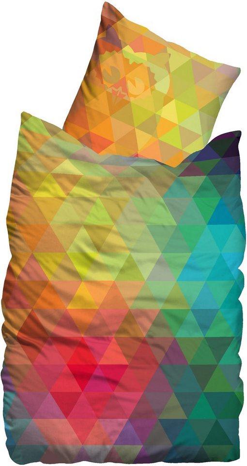 Bettwäsche, Suenos, »Colors«, mit bunten Dreiecken in multi
