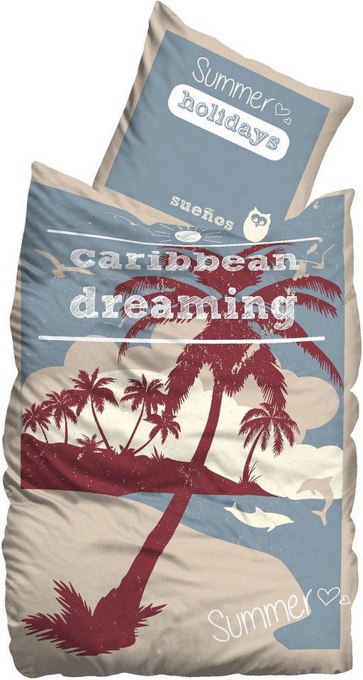 Bettwäsche, Suenos, »Caribbean«, mit Palmen in multi