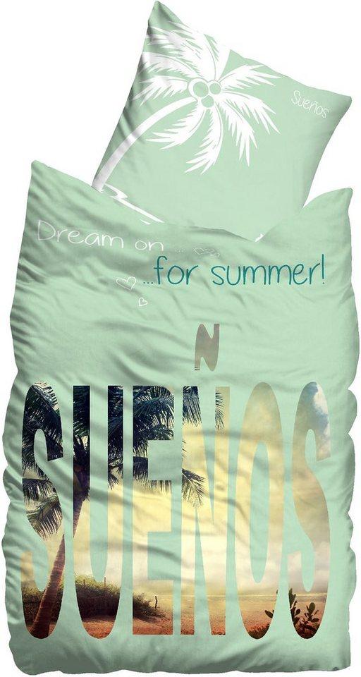 Bettwäsche, Suenos, »Sunset«, großer Markenschriftzug in mint