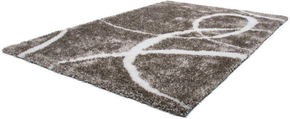 Hochflor-Teppich, Lalee, »Nova 607«, Höhe 45 mm, handgetuftet in titan