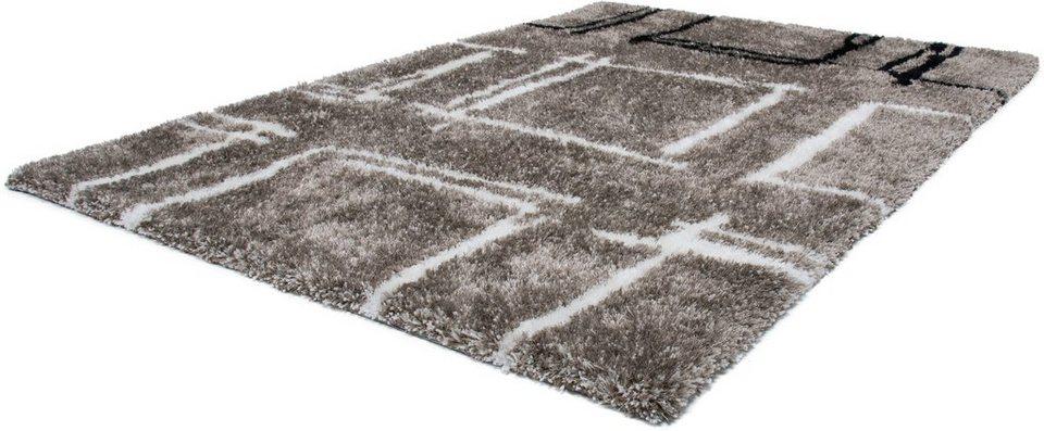 Hochflor-Teppich, Lalee, »Nova 606«, Höhe 45 mm, handgetuftet in titan