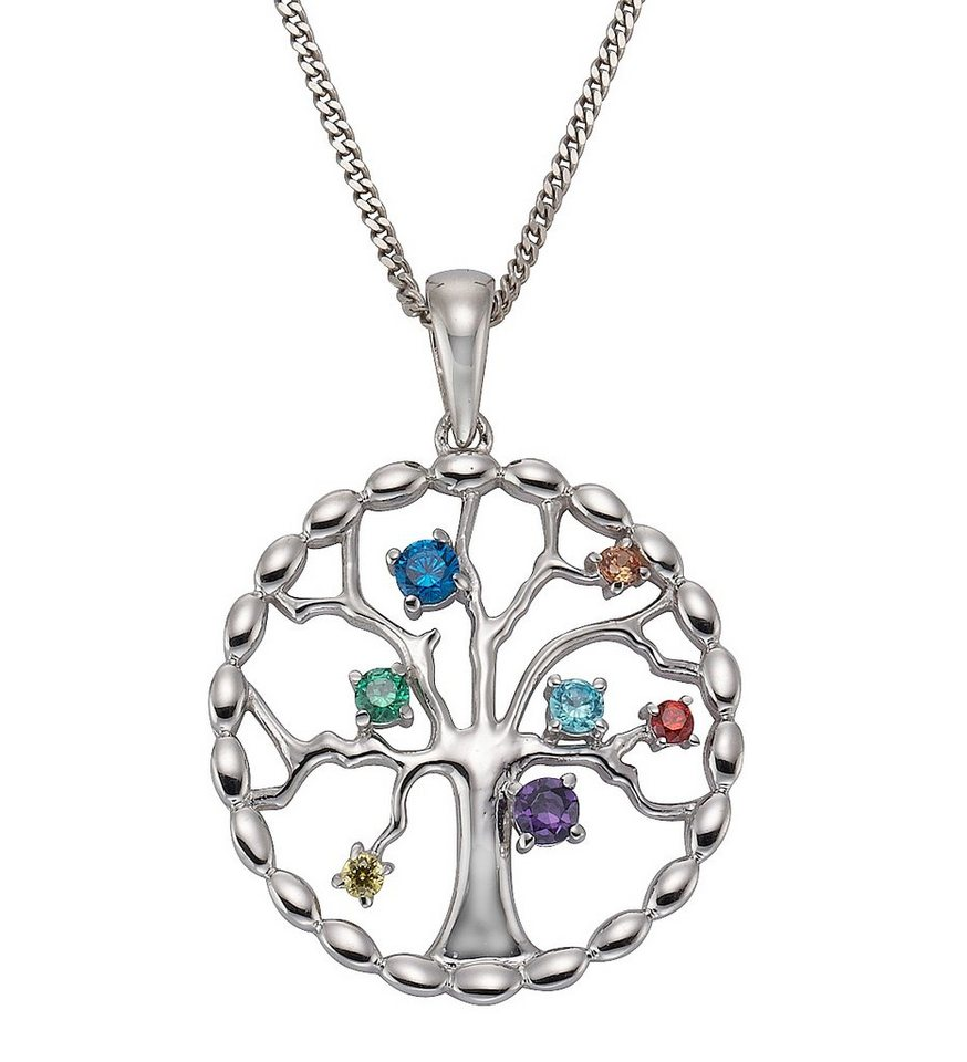 firetti Kette mit Anhänger »Lebensbaum« mit bunten Zirkonia in Silber 925/bunt