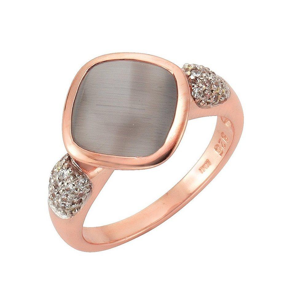 firetti Ring mit Zirkonia und Katzenauge in Silber 925/überw. roségoldfb. vergoldet/grau