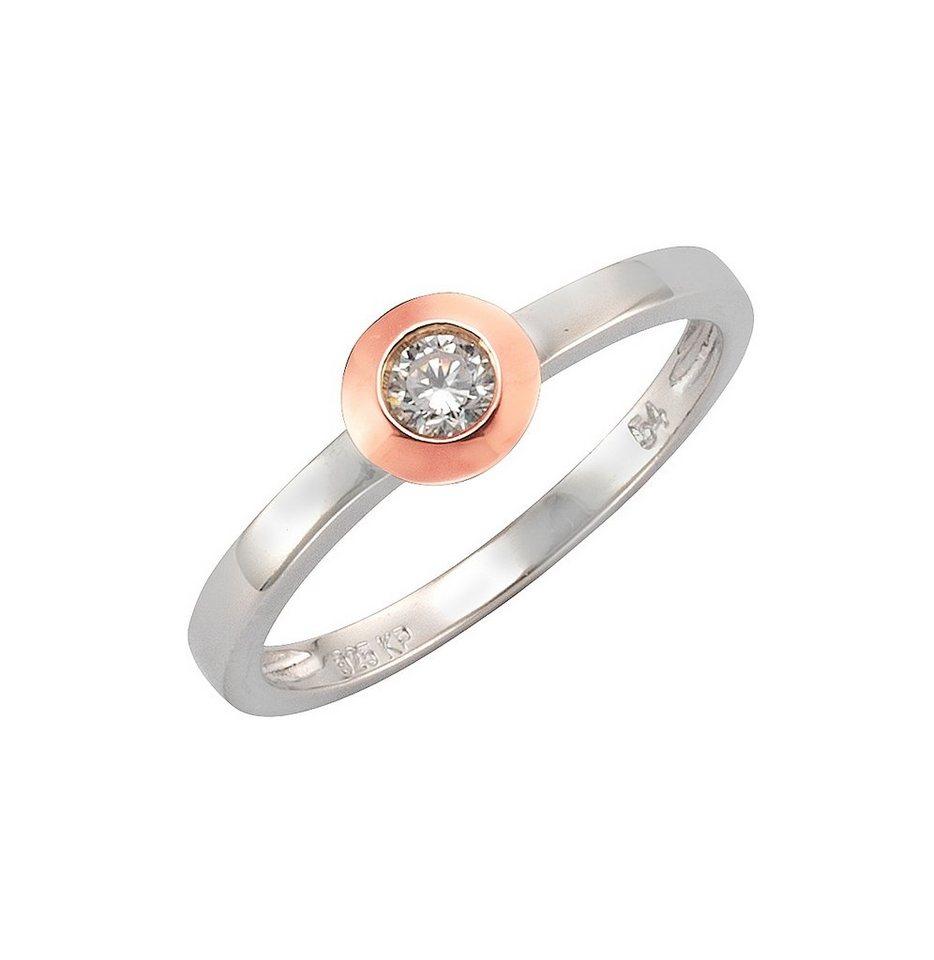 """firetti Ring """"Solitär-Optik"""" mit Zirkonia in Silber 925/teilw. roségoldfb. vergoldet"""