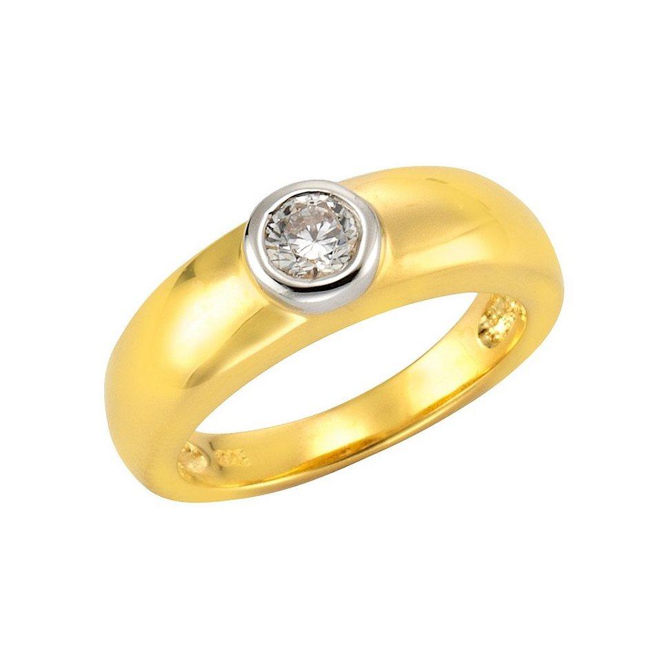 "firetti Ring ""Solitär-Optik"" mit Zirkonia in Silber 925/überwiegend goldfb. vergoldet"