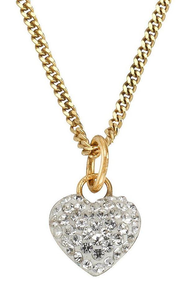 firetti Halsschmuck: Halskette »Herz« in Panzerkettengliederung mit Swarovski-Kristallen in Silber 925/vergoldet