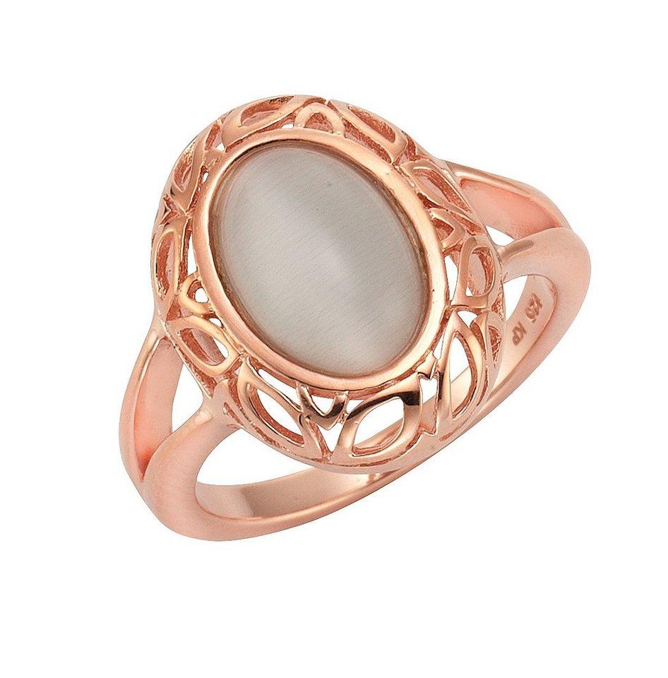 firetti Ring mit Katzenauge in Silber 925/roségoldfb. vergoldet/grau
