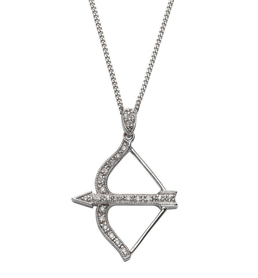 firetti Halsschmuck: Halskette »Pfeil und Bogen« in Panzerkettengliederung mit Zirkonia in Silber 925