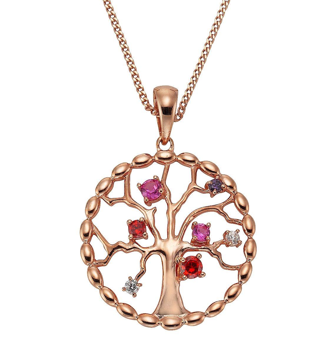 firetti Kette mit Anhänger »Lebensbaum« mit Rubinen und bunten Zirkonia