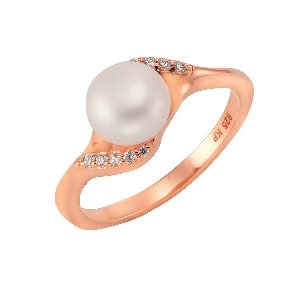 "firetti Ring ""Perle"" mit Zirkonia in Silber 925/roségoldfb. vergoldet/weiß"